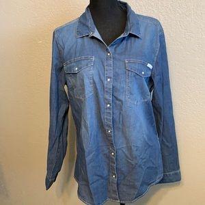NWT Calvin Klein Jeans denim button front shirt XL